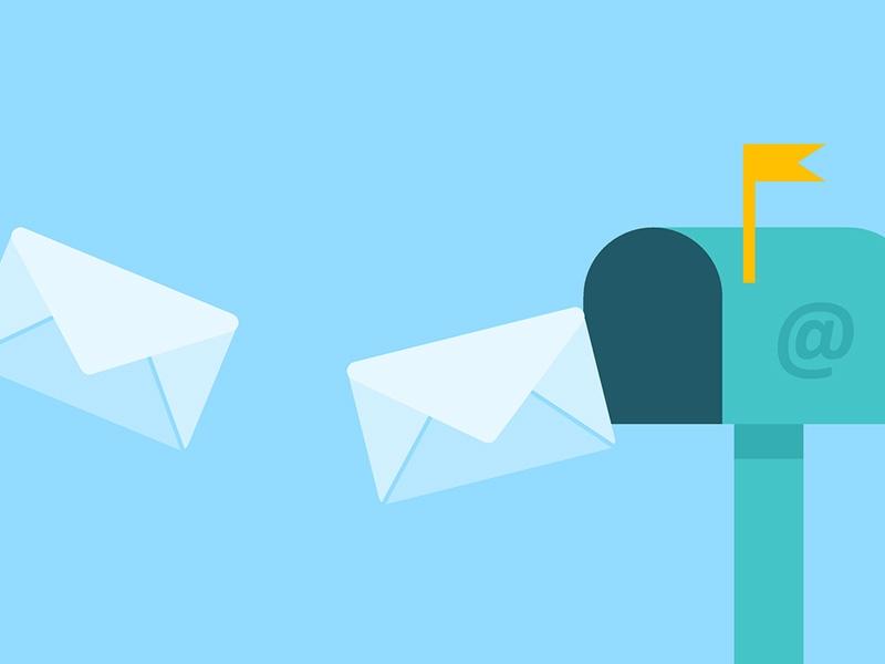 Illustration Briefumschläge, Briefkasten